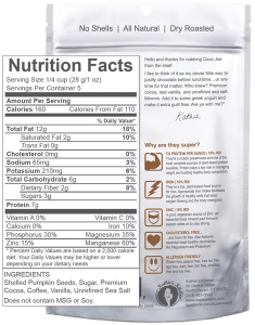 SuperSeedz Coco Joe Nutrition Facts
