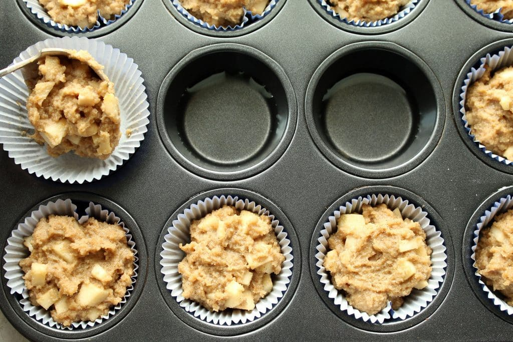 Dipping Batter Into Muffin Tin