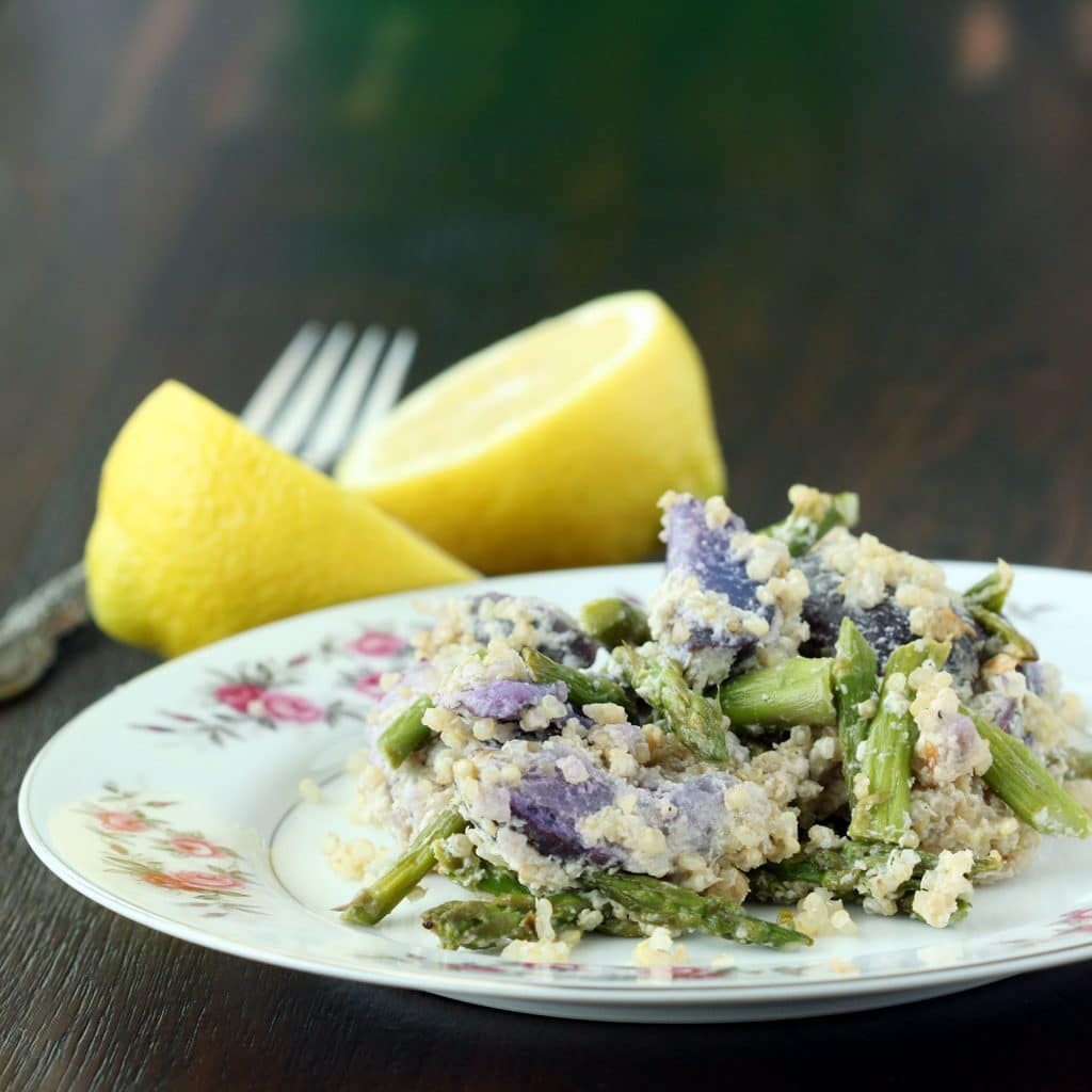 Quinoa Asparagus Purple Potato Salad