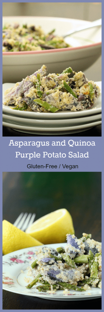 Quinoa Asparagus Purple Potato Salad Collage
