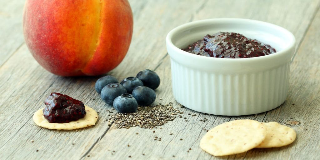 Blueberry Peach Chia Jam (Gluten-Free, Vegan/Plant-Based, RSF)