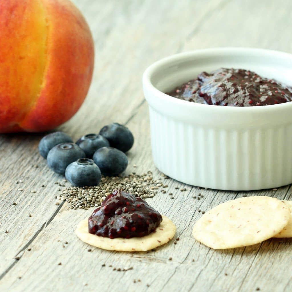 Blueberry Peach Chia Jam on Cracker