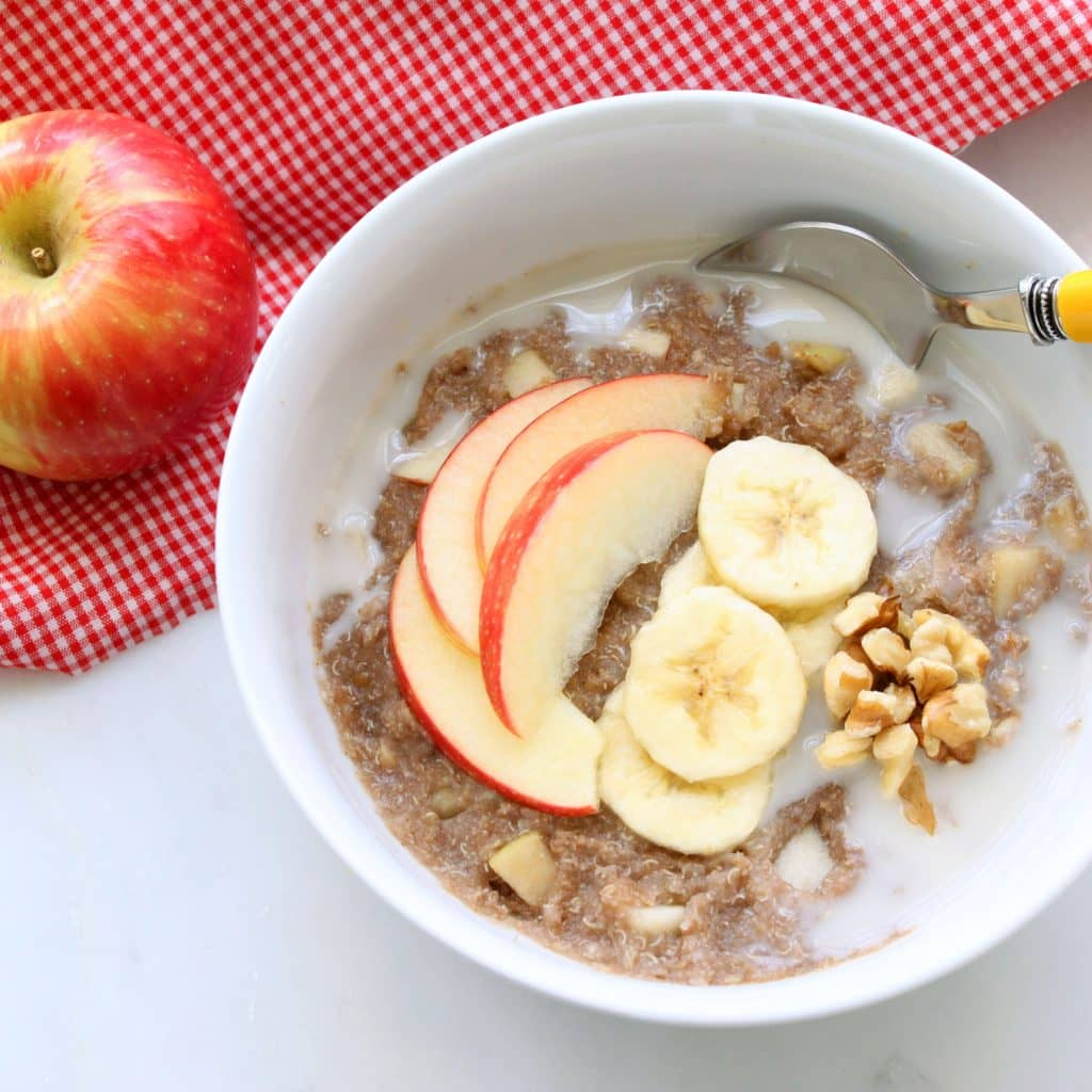 Apple Pie Quinoa Breakfast Bowl (Gluten-Free, Vegan / Plant-Based, Refined Sugar-Free)