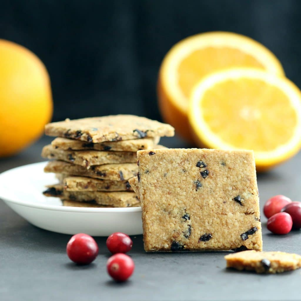 Cranberry Orange Wafers (Gluten-Free, Vegan/Plant-Based, Refined Sugar-Free)