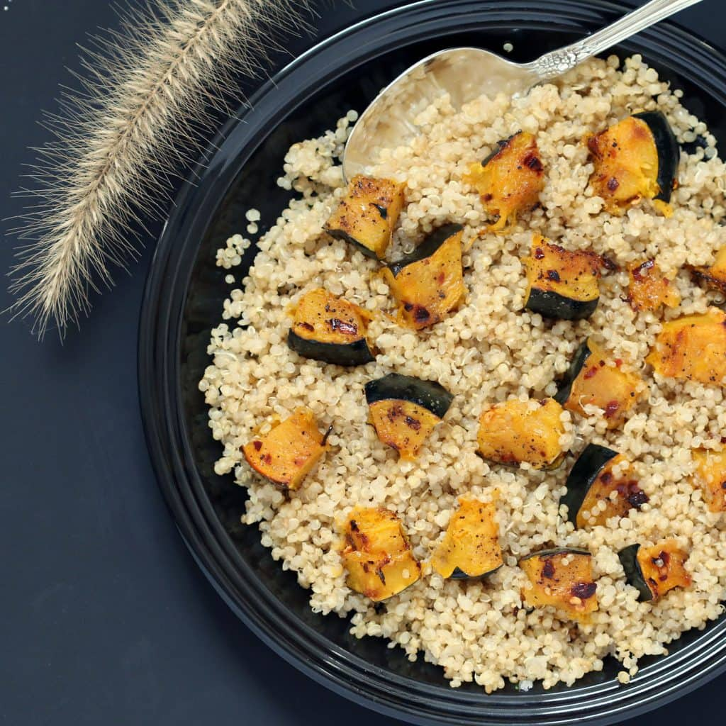 Spicy Acorn Squash and Garlic Infused Quinoa