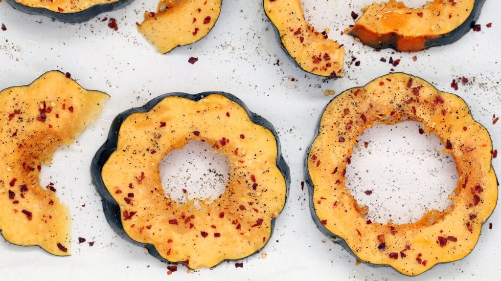 Spicy Acorn Squash and Garlic Infused Quinoa - Squash Seasoned For Roasting