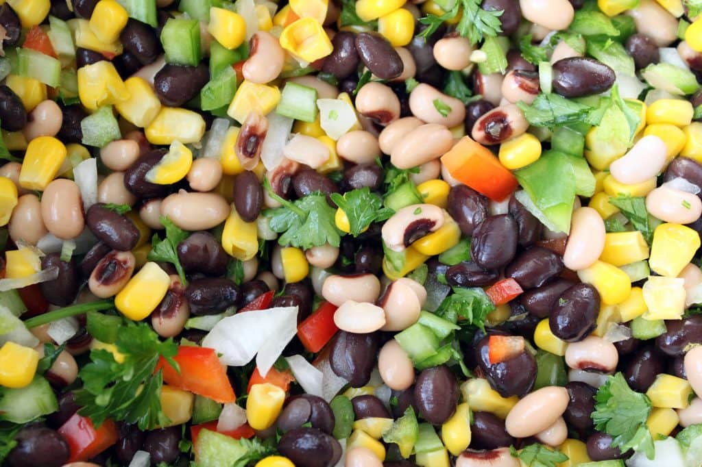 Sweet and Spicy Corn and Bean Salad - Ingredients Combined in Bowl