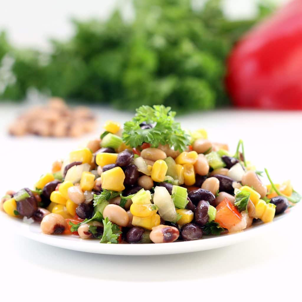 Sweet and Spicy Corn and Bean Salad (Gluten-Free, Plant-based / Vegan, Refined Sugar-Free)