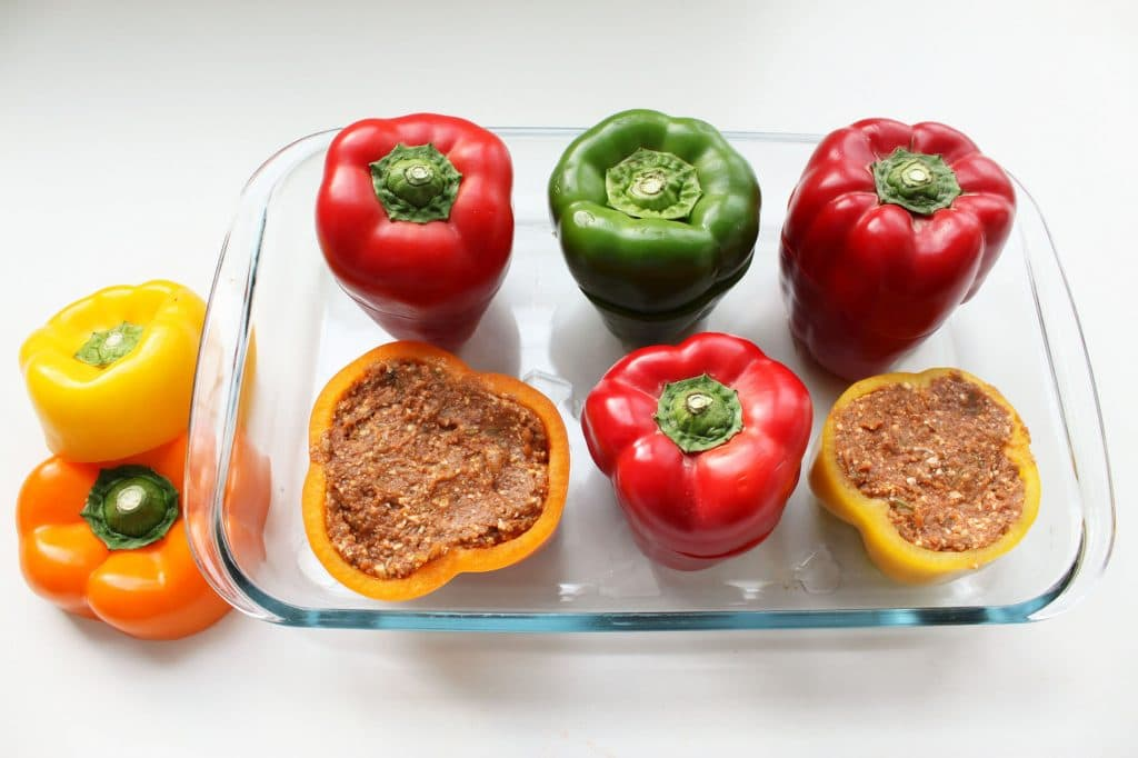 Cheesy Eggplant Stuffed Peppers - Prebaking with Lids