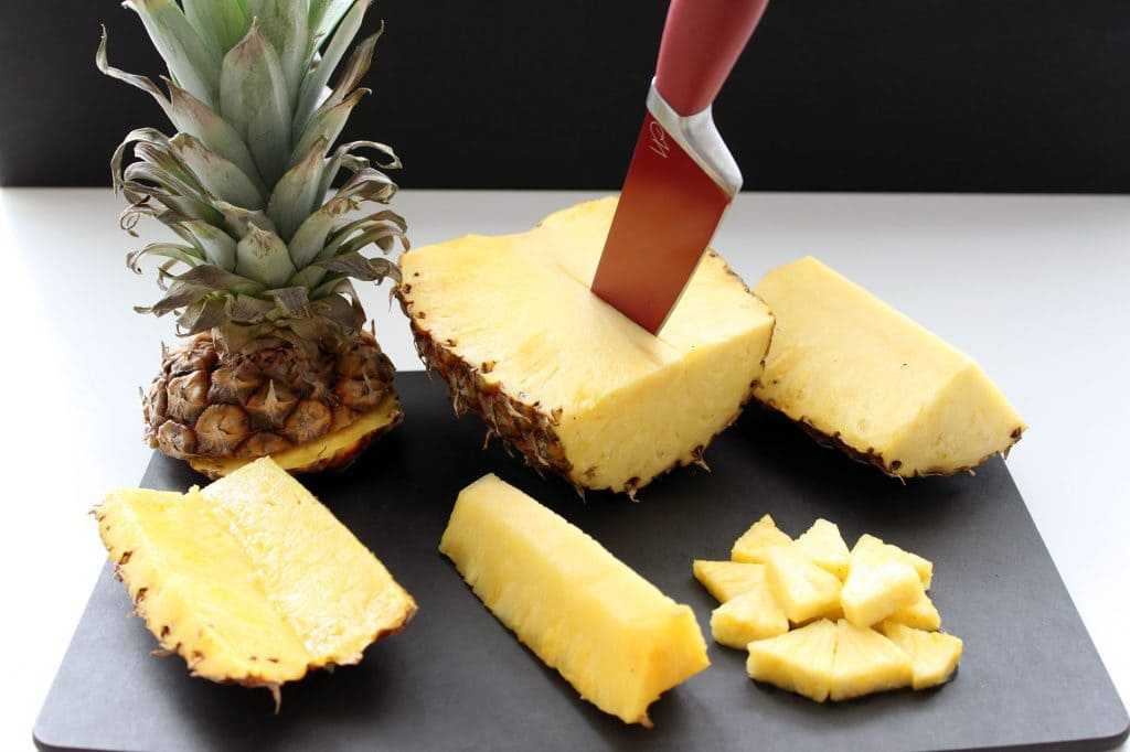 Pure Piña Colada Bars - Steps for Cutting Pineapple