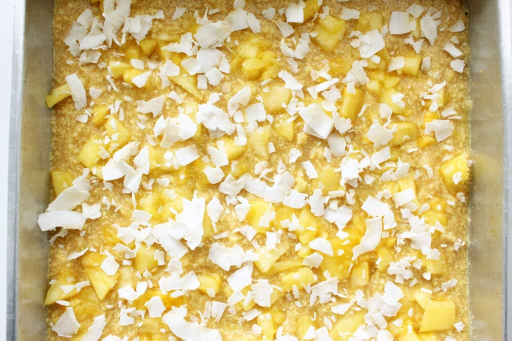 Pure Piña Colada Bars - Top Layer Sprinkled with Pineapple and Coconut