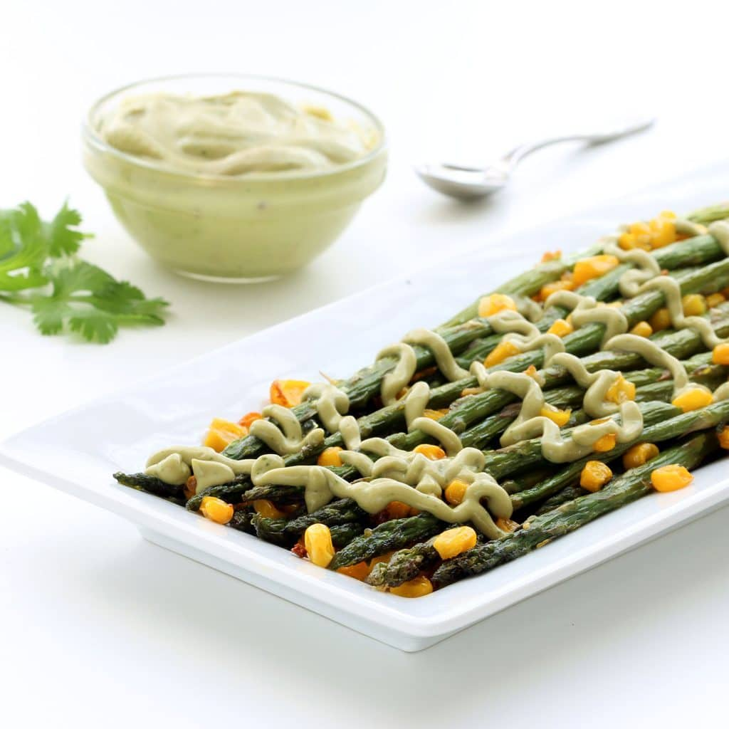 Roasted Asparagus with Vegan Avocado Cream (Gluten-free, Plant-based, Low-Carb)
