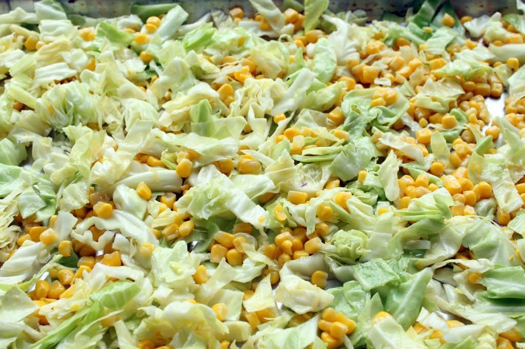 Roasted Slaw with Roasted Garlic Lemon Dressing - Green Cabbage and Corn Pre-roast