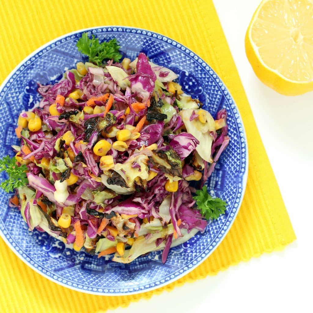 Roasted Slaw with Roasted Garlic Lemon Dressing