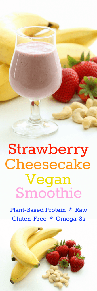 Strawberry Cheesecake Vegan Smoothie Collage