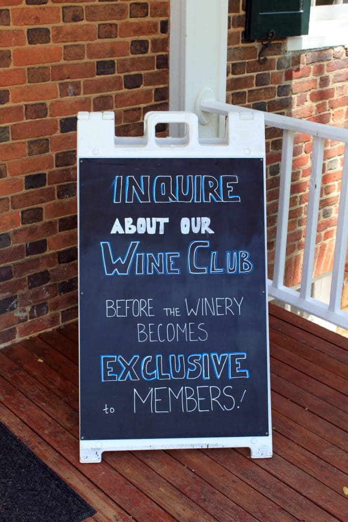 Winery at La Grange - Wine Club Sign