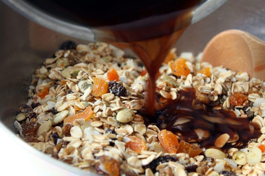 Alpha Omega Granola - Adding Wet Ingredients