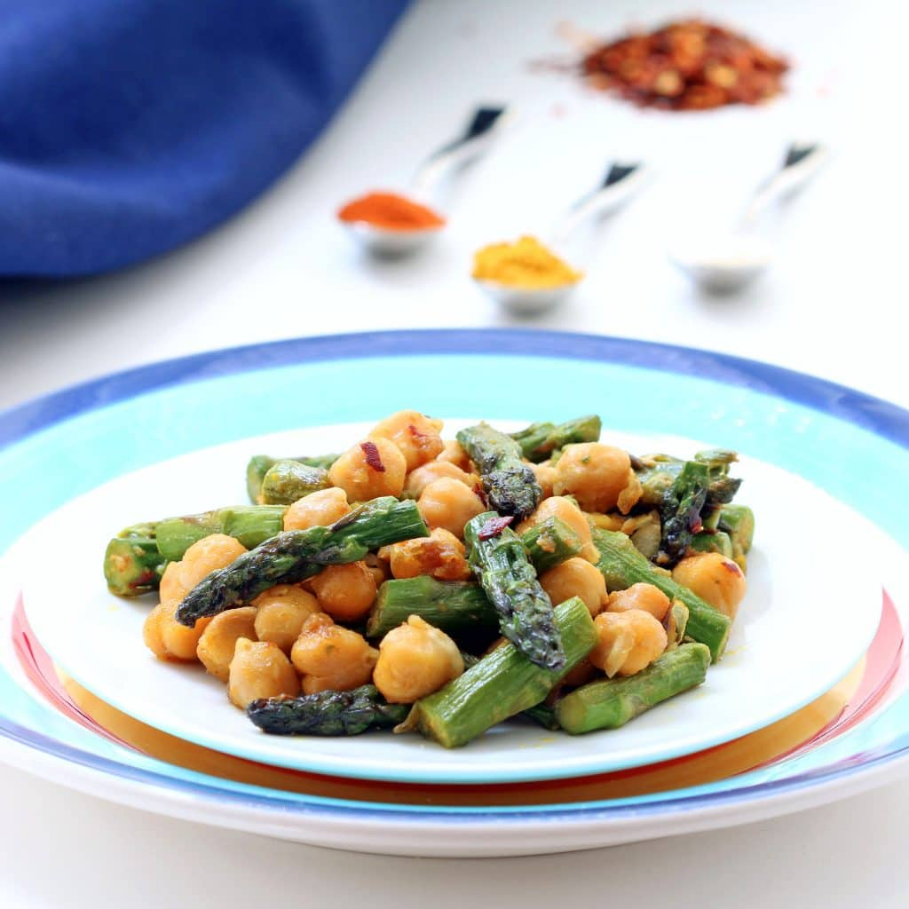Curried Asparagus and Chickpeas (Gluten-free, Vegan / Plant-based)