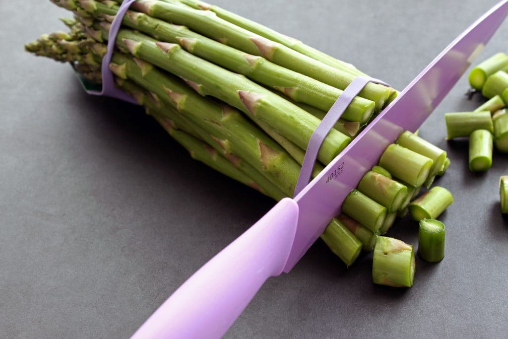 Curried Asparagus and Chickpeas - Removing Asparagus Ends