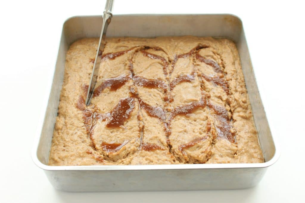 Gluten Free Coffee Cake - Cutting Drizzle into Batter