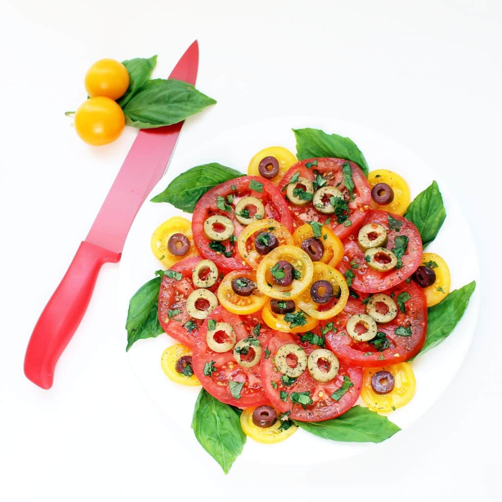 Neapolitan Tomato Salad - Plated with Knife