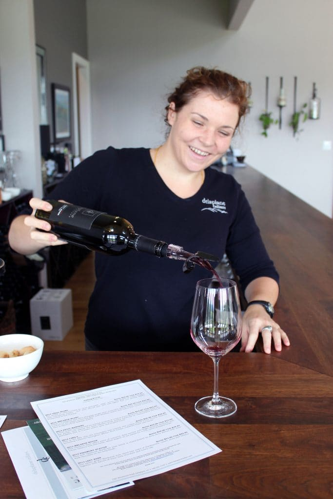 Delaplane Cellars - Katharyn Pouring Left Bank Red Blend