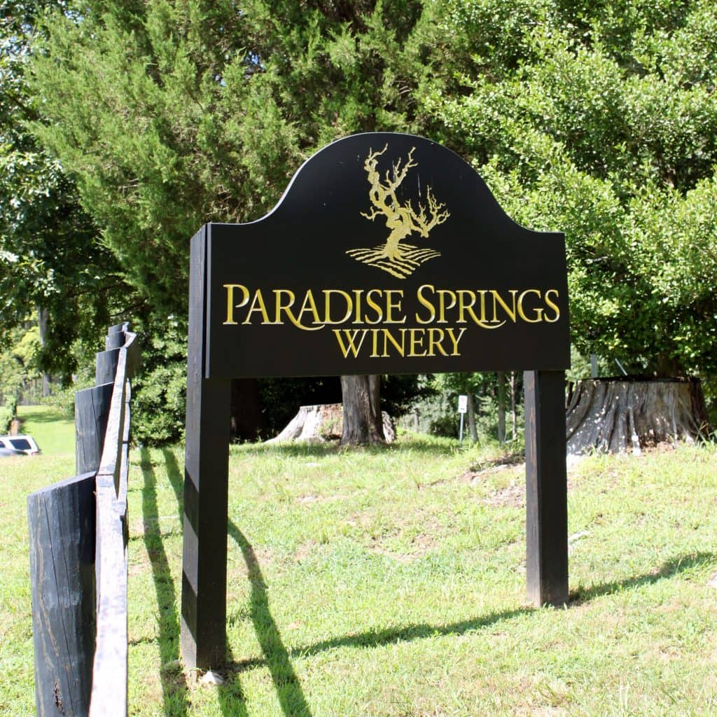Paradise Springs Winery - Welcome Sign