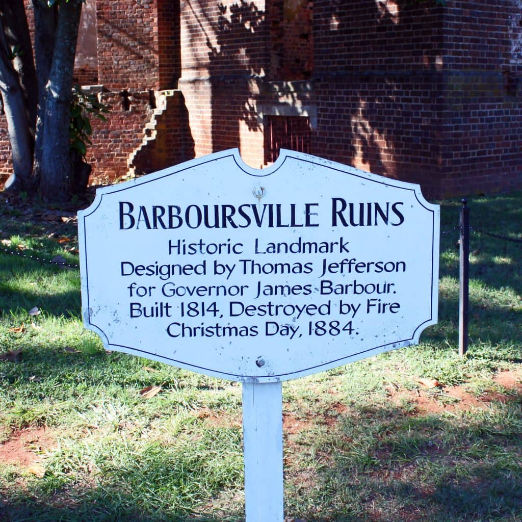 Barboursville Vineyards - Barboursville Mansion Sign