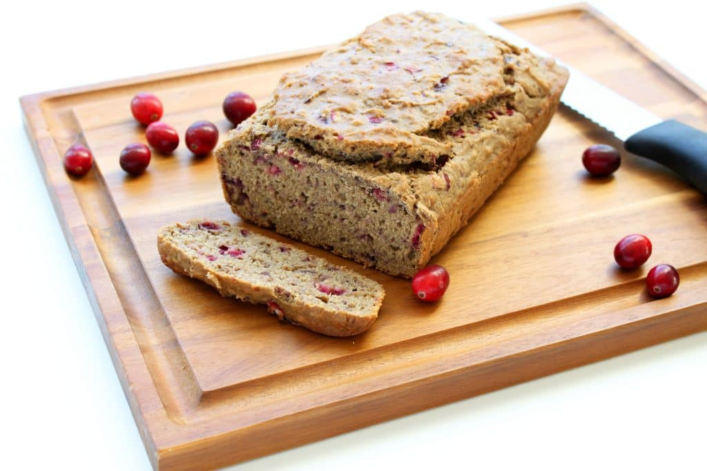 Gluten Free Cranberry Banana Bread - On Cutting Board