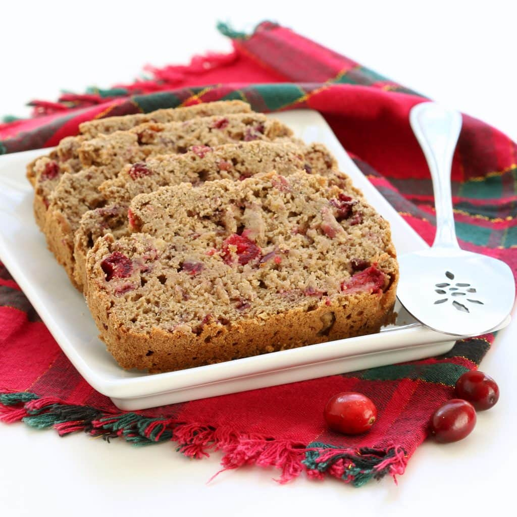 Gluten Free Cranberry Banana Bread - Plated Slices
