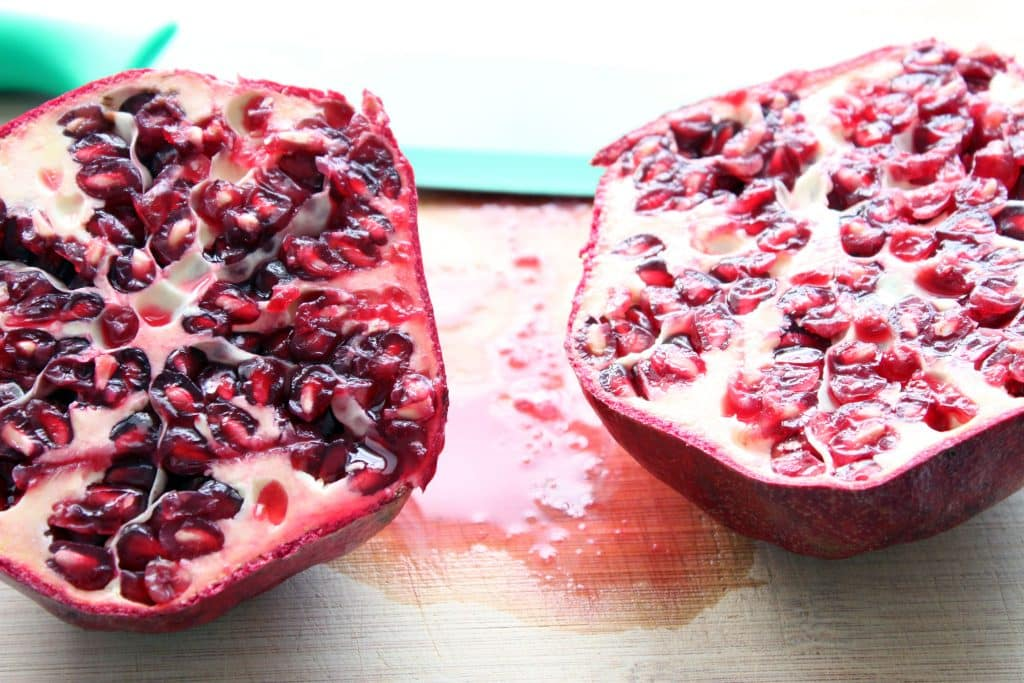 Pomegranate Vegan Cream Cheese - Sliced Pomegranate