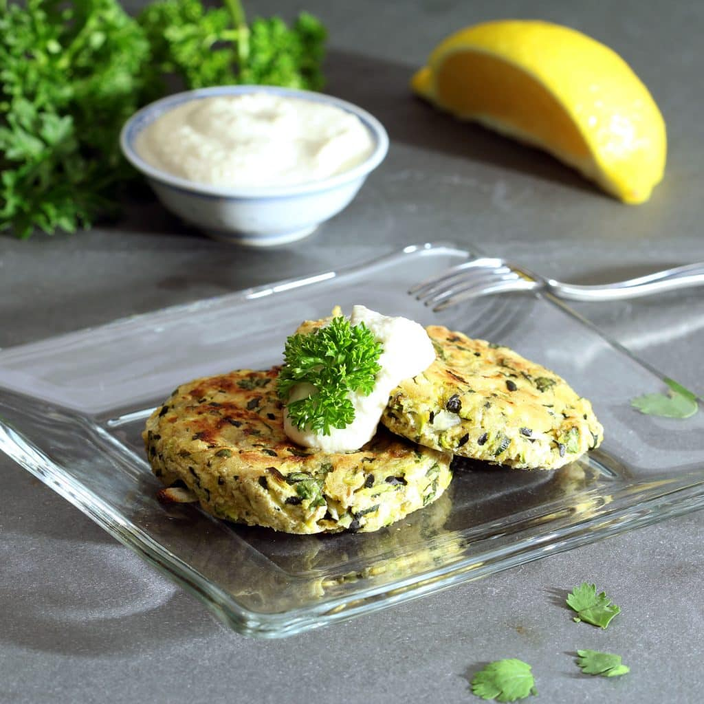 Vegan Zucchini Cakes with Vegan Lemon Cream
