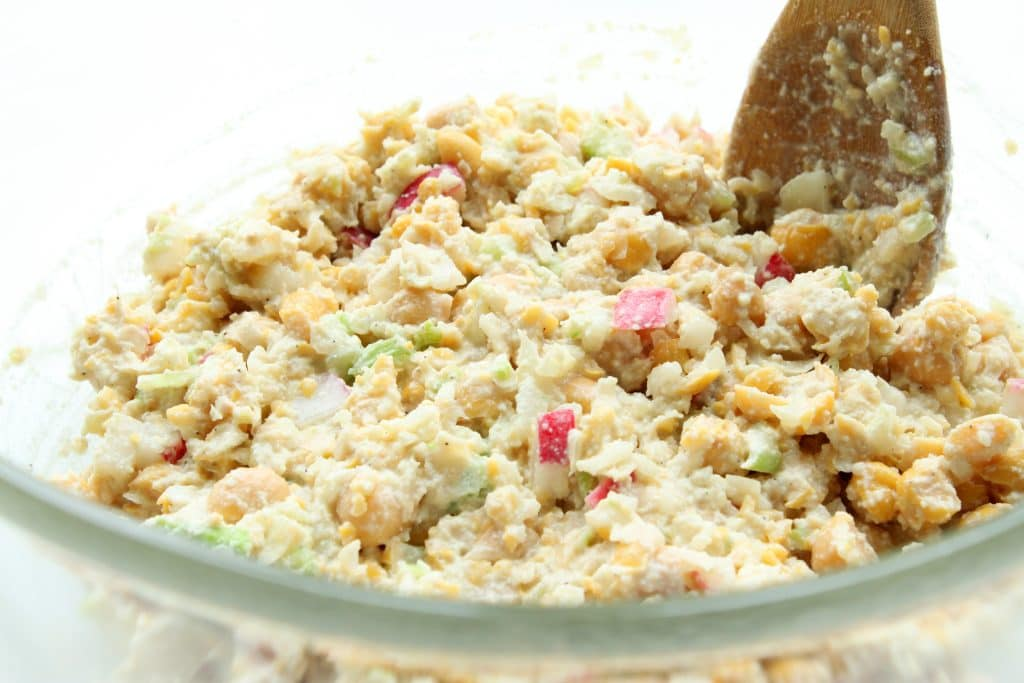 Chickpea Chicken Salad - Mixing in Dressing