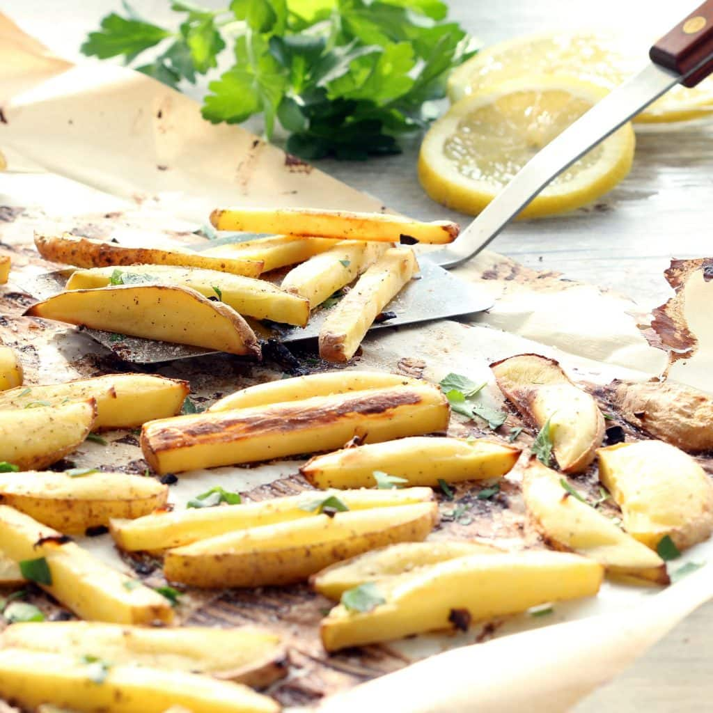 Lemon Garlic Oven Fries (Gluten-free, Plant-based, Oil-free)