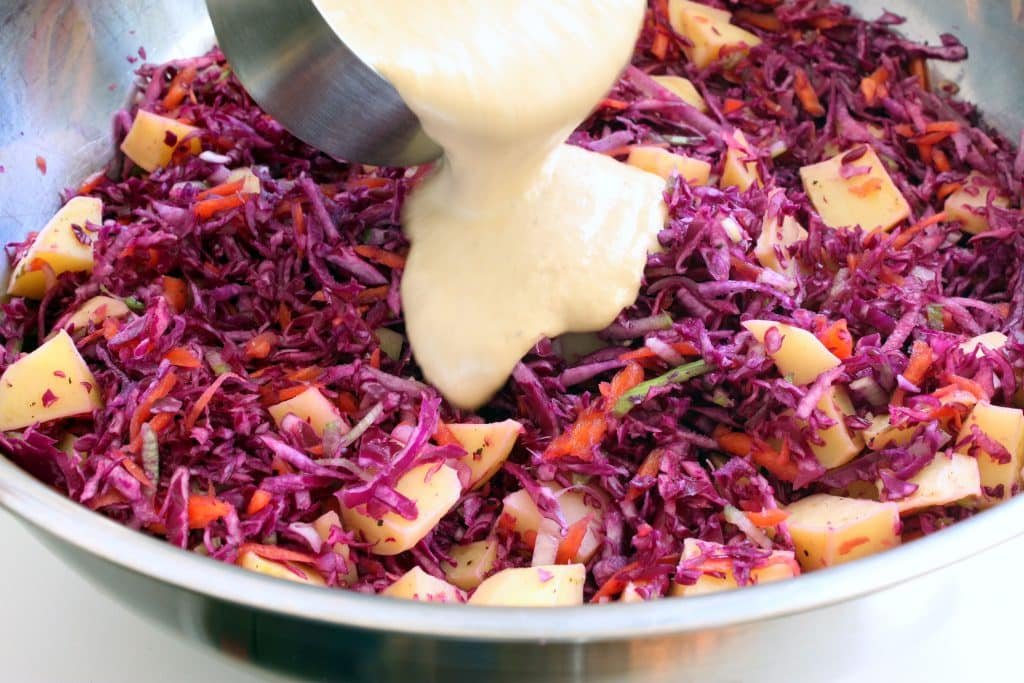 Roasted Leek Potato Slaw - Adding Dressing