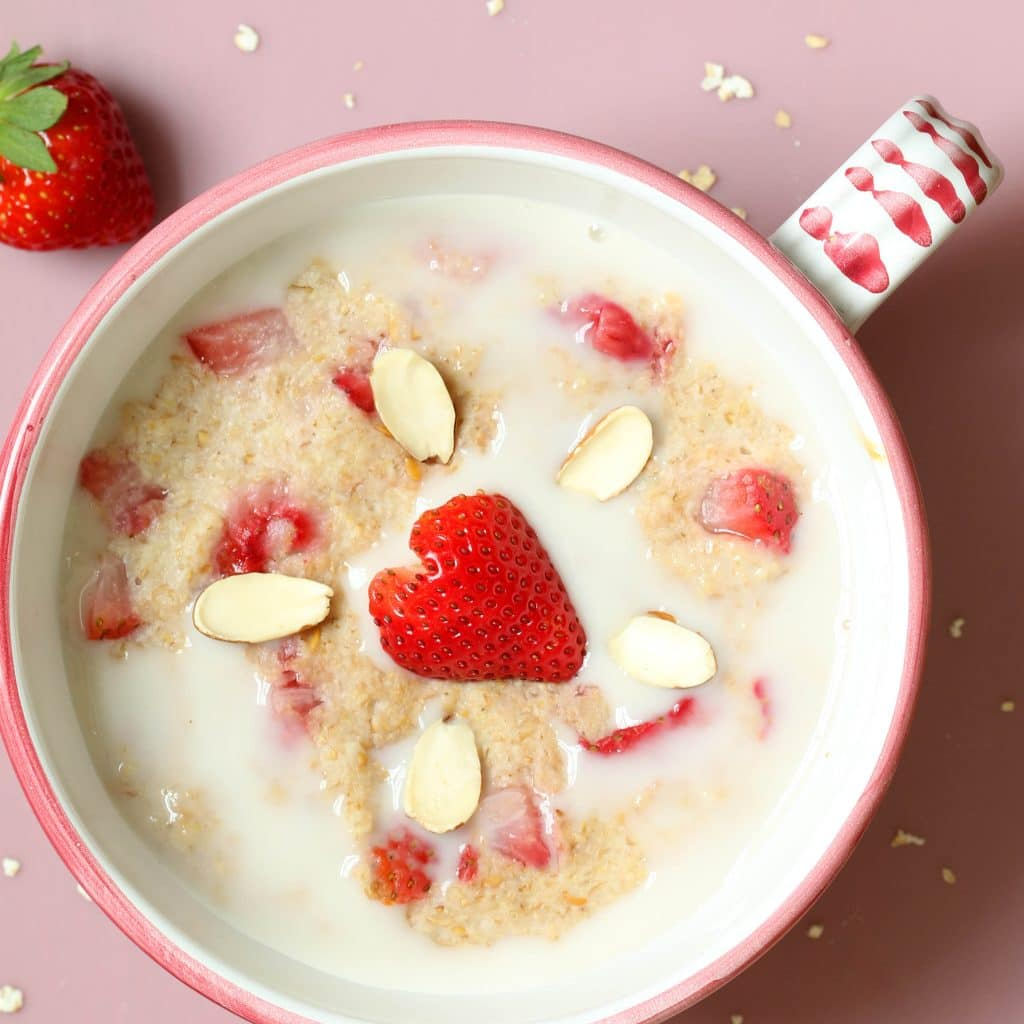 Strawberry Shortcake Breakfast Bowl - Topped with Plant-based Milk