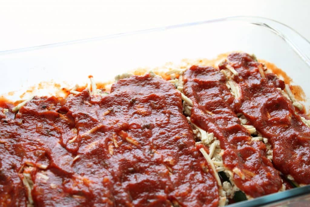 Vegan Zucchini Lasagna - Second Layer of Sauce