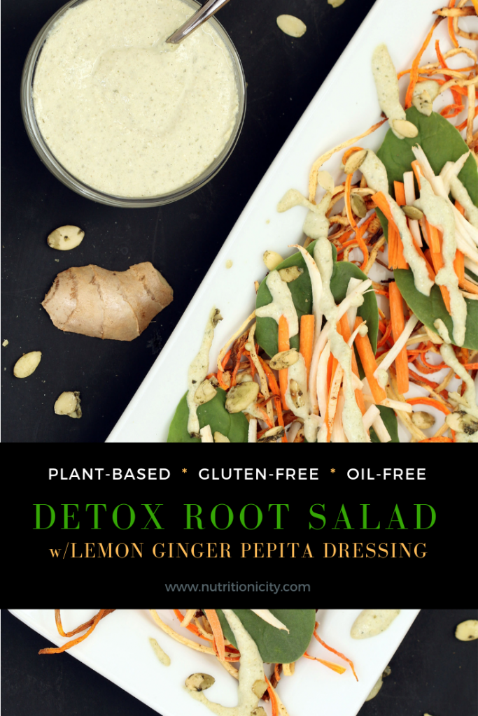 Detox Root Salad with Lemon Ginger Pepita Dressing