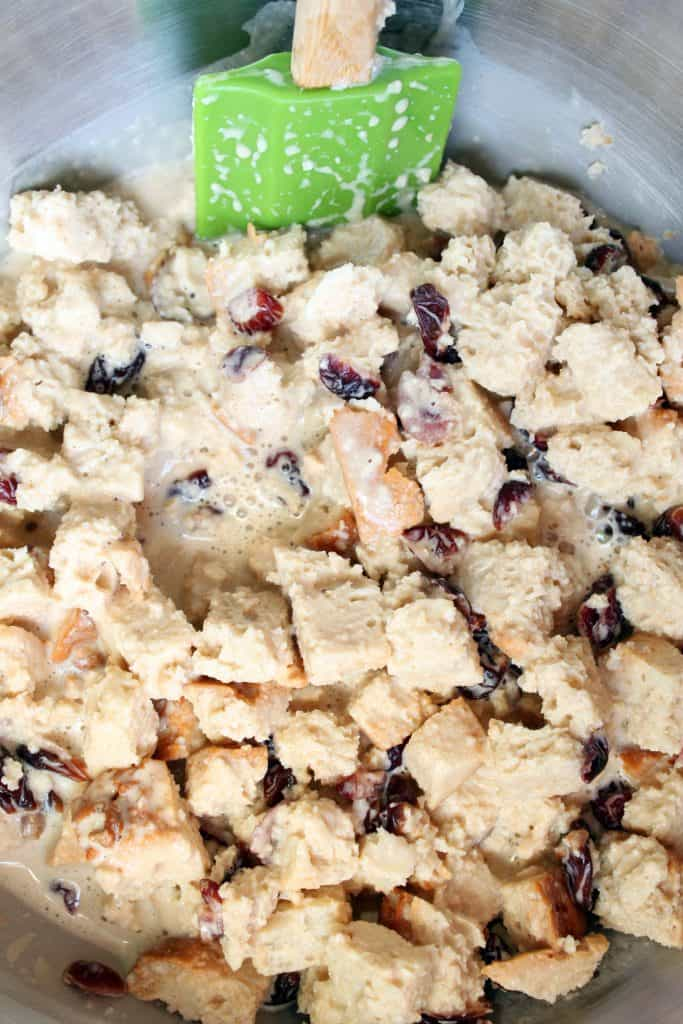 Cranberry Cherry Bread Pudding - Combining Ingredients