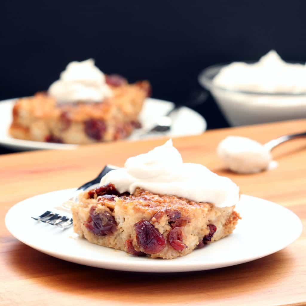 Cranberry Cherry Bread Pudding (Gluten-free / Plant-based)