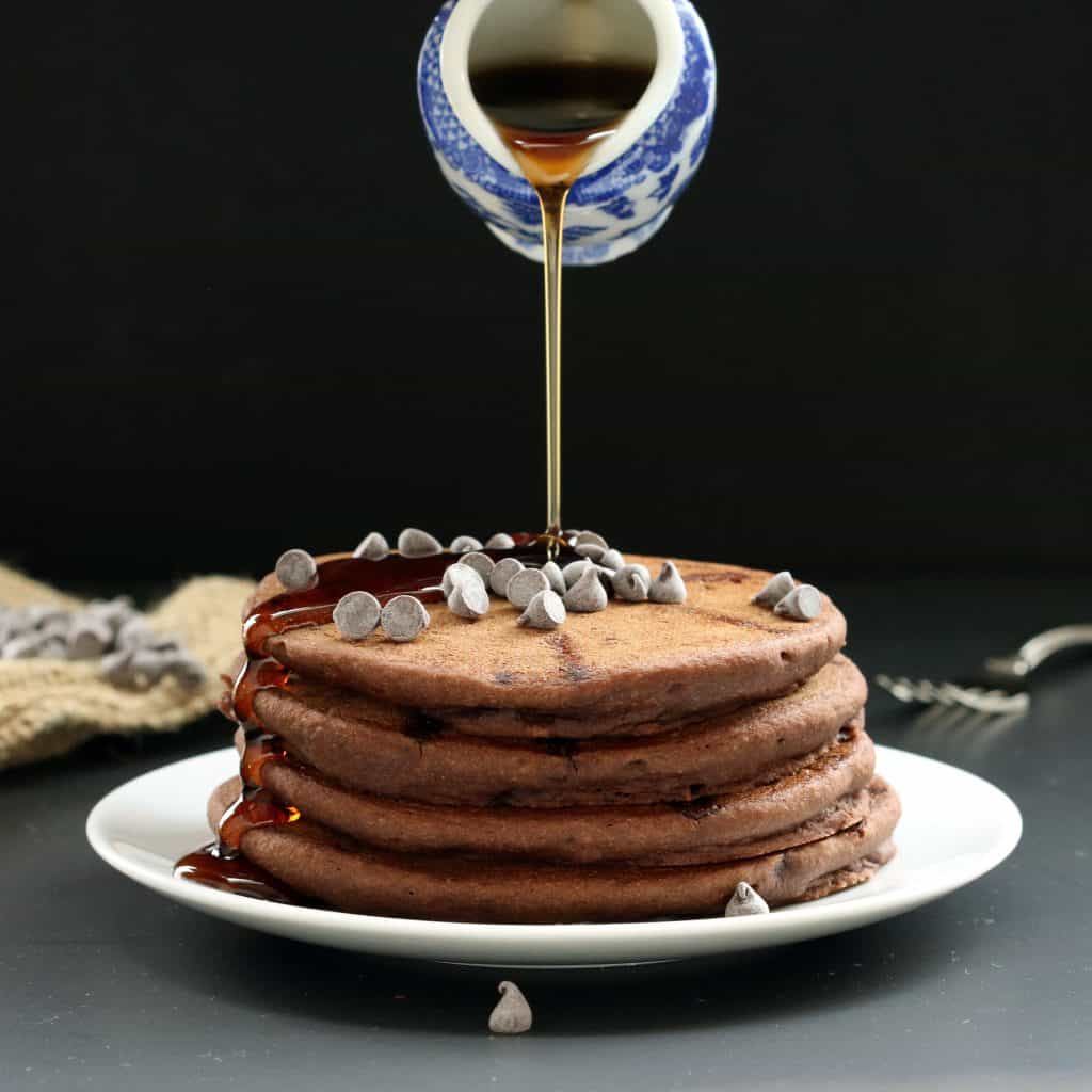 Semi-Sweet Chocolate Chip Pancakes (Gluten-free, Plant-based, Oil-free)