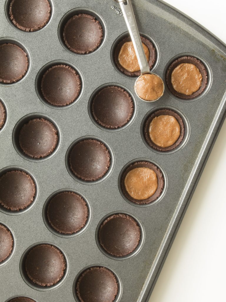 Cocoa Almond Butter Cups - Filling Chocolate Base with Almond Butter Mixture